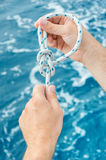 Bowline nautical knot Stock Photo