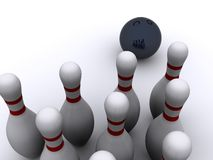 Bowling. Pins with ball. 3d Royalty Free Stock Image