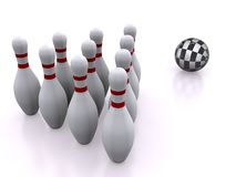 Bowling. Pins. 3d on white Royalty Free Stock Photo