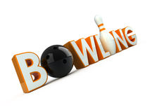 Bowling. 3d Bowling word isolated on white Stock Photos