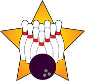 Bowling. Pins and Ball with Star Royalty Free Stock Images