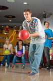 Bowling. Young people play the bowling Royalty Free Stock Image