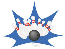 Bowling. Ball and falling  pins Royalty Free Stock Image
