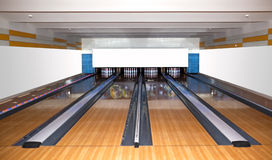 Bowling. Premise for game in bowling Royalty Free Stock Photo
