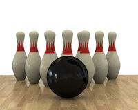 Bowling. Close up of the ball and the pins Stock Image