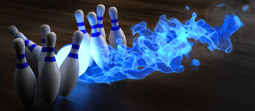 Bowling. Glowing blue light bowling ball knocks down skittles. 3d illustration Royalty Free Stock Images