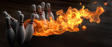 Bowling. Flaming bowling ball knocks down skittles. 3d illustration Stock Image