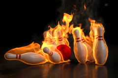 Bowling. Red bowling ball knocks down flaming skittles. 3d illustration Stock Photo