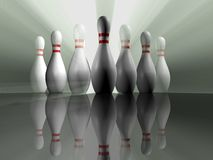 Bowling 2. Conceptual lot of bowling skittle and rays - rendered in 3d Stock Images