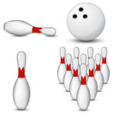 Bowling. Set of bowling and pin isolated on white background Royalty Free Stock Photos