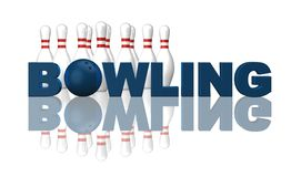 Bowling. The word bowling, pins and ball on white background - 3d illustration Royalty Free Stock Photo
