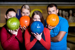 Bowling. A young women playing bowling Royalty Free Stock Photography