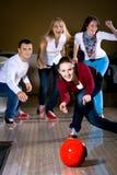 Bowling. A young women playing bowling Royalty Free Stock Photo