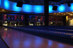 Bowling. View of the bowling rolling lanes with light effects Royalty Free Stock Photos