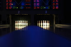 Bowling. View of the bowling rolling lanes with light effects Stock Photos