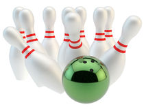 Bowling. Render of a green bowling ball and pins Royalty Free Stock Image