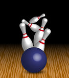 Bowling. Four Pins and Blue Ball On Wooden Alley vector illustration