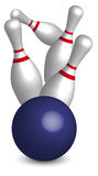 Bowling. Four Pins and Blue Ball On White Background Vector royalty free illustration