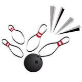 Bowling. Illustration of bowling ball crashing into the pins vector Stock Image
