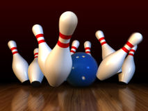 Bowling. 3d render of bowling strike with motion blur simulation Stock Image