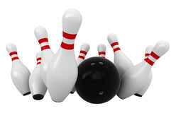 Bowling. 3d render of bowling strike isolated over white background Royalty Free Stock Photography
