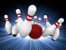 Bowling. 3d render of bowling strike with motion blur simulation Stock Photos