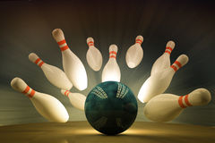 Bowling. Ball crashing into the pins Royalty Free Stock Image