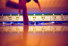 Bowling. (soft) focus is set on the flying ball, shallow DOF Royalty Free Stock Photography