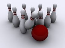 Bowling 3. A red bowling ball, knocking the skittles - rendered in 3d Stock Photography