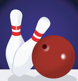 Bowling. Illustration of bowling ball and pins Stock Photo