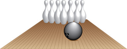 Bowling. Illustration of black bowling ball heading down the lane to make a strike. AI file is included Royalty Free Stock Photo