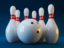 Bowling. 3D illustration on dark blue  background. Game Stock Photo