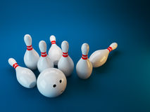 Bowling. 3D illustration on dark blue  background. Game Royalty Free Stock Image