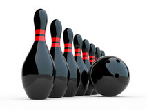 Bowling. 3D illustration on white background Stock Photography
