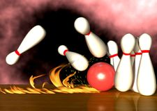Bowling. The Scene of the ingenious blow in play bowling alley, Executed in 3D Royalty Free Stock Image