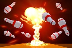 Bowling. The Scene of the atomic blow in play bowling alley, Executed in 3D Stock Images