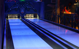 Bowling. Alley with blue, psychedelic colors Stock Photography