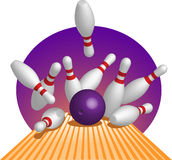 Bowling. Skittles scattering from impact of a ball Stock Image