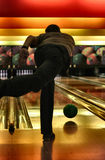 Bowling. (soft) focus is set on the flying ball, shallow DOF Stock Photography
