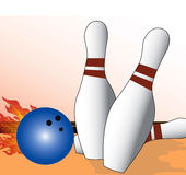 Bowling. Flaming Bowling ball hitting pins on the alley.clip art illustration Stock Photography
