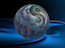 Bowling!. Multi-colored textured ball  on a blue rippled background, this is a large file rendered at high quality, showing many details when viewed at full size Royalty Free Stock Images
