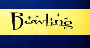 Bowling. Blue and yellow vintage bowling center sign Stock Photo