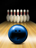 Bowling. An illustration of a tenpin bowling ball and skittles Royalty Free Stock Photo