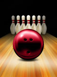 Bowling. An illustration of a red tenpin bowling ball and skittles Stock Photography
