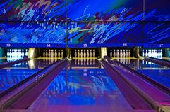 Bowling Alley. With blue, psychedelic colors stock image