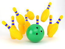 Bowling-alley. Strike in the skittle-alley Royalty Free Stock Photography