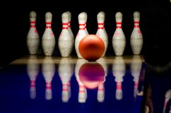 Bowling Alley Red Ball White Pins Lane Royalty Free Stock Photos