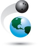 Bowling around the world. Bowling ball flying around the world Royalty Free Stock Photo