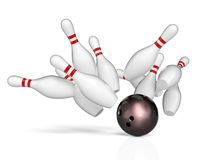 Bowling background concept. Bowling action background 3d rendering image Stock Photos