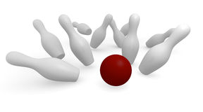 Bowling. Background on white , 3d image Stock Image